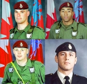 PPCLI soldiers killed by American friendly-fire: (clockwise from top-left) Sgt Marc Léger, Cpl Ainsworth Dyer, Pte Nathan Lloyd Smith, Pte Richard Green. (2002.04.17)